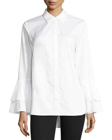 Ruffle-Sleeve Cotton Shirt