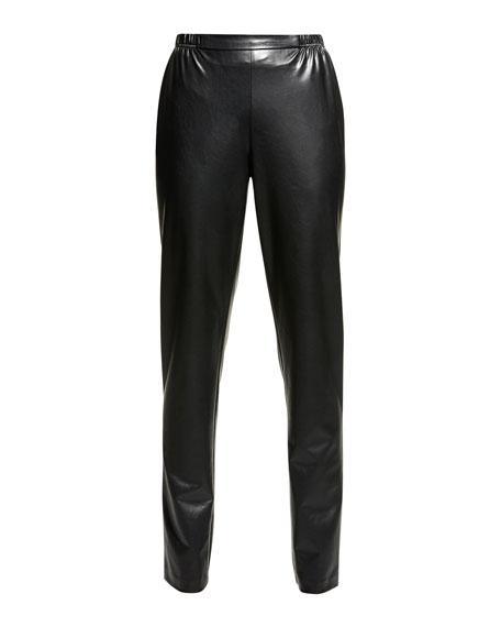 Bi-Stretch Faux-Leather Pants, Black