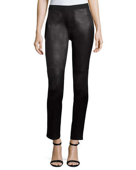Ponte Leather-Blocked Leggings, Petite