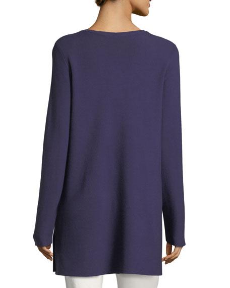 Crisp Cotton Links Long-Sleeve V-Neck Tunic
