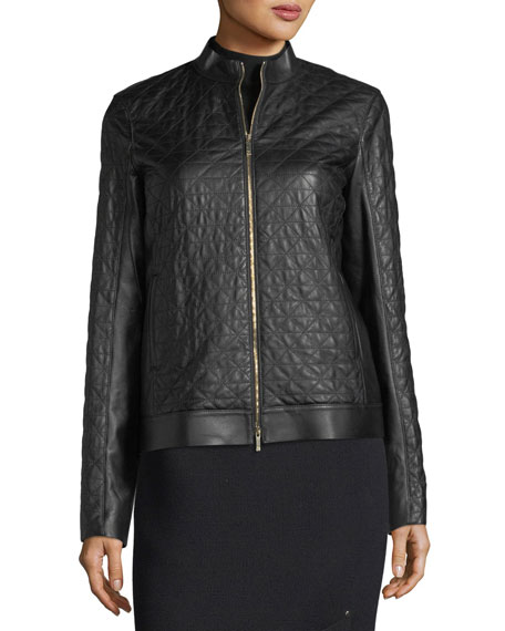 Becks Quilted Leather Moto Jacket