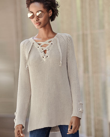 Boundless Lace-Up Sweater
