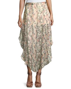 d87b266a3e428 Haute Hippie Anastasia Slayer Pleated Tulip Maxi Skirt