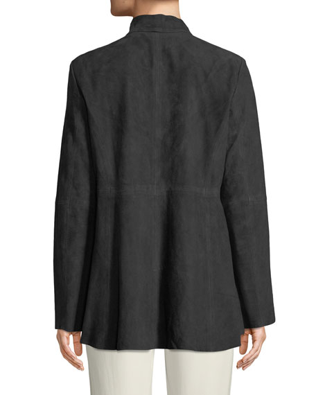 Soft Suede High-Collar Jacket