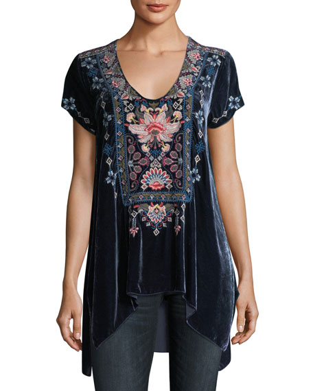 Nindi Embroidered Velvet Top, Plus Size