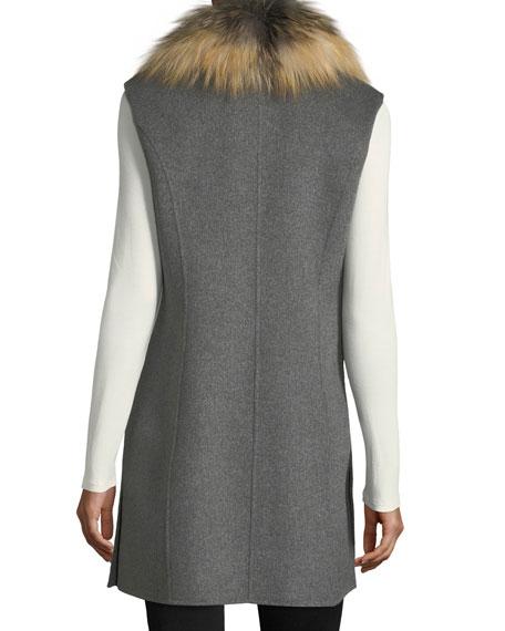 Luxury Double-Faced Cashmere Vest w/ Fox Fur Collar