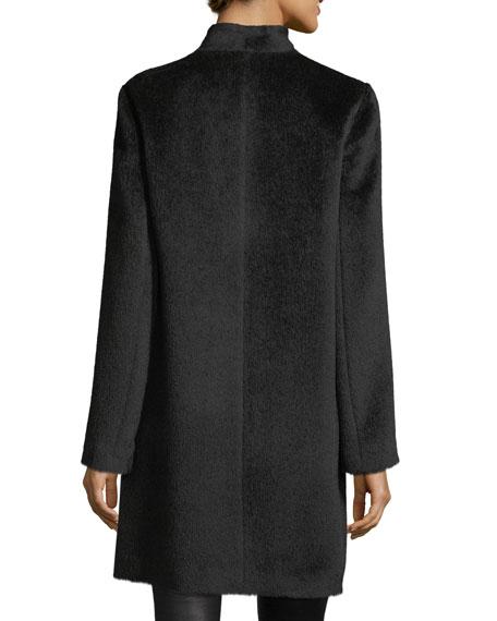 Drapey Suri Alpaca-Blend Long Coat, Plus Size
