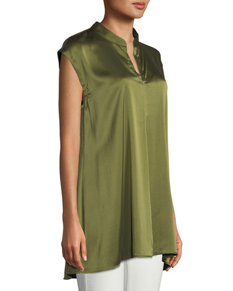 Cap-Sleeve Stretch Silk Charmeuse Top