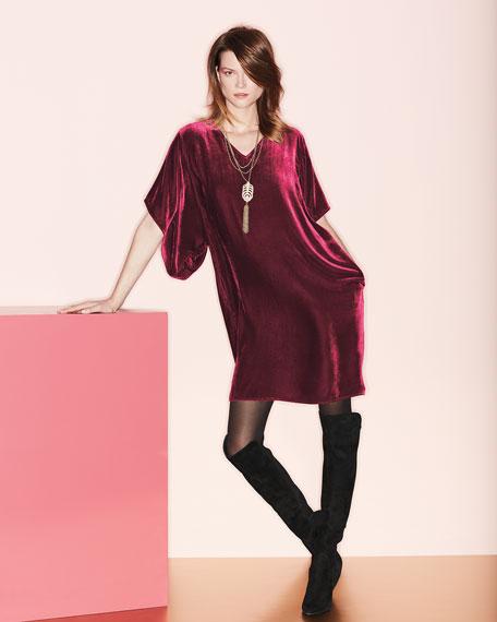 Easy Velvet Kimono-Sleeve Dress