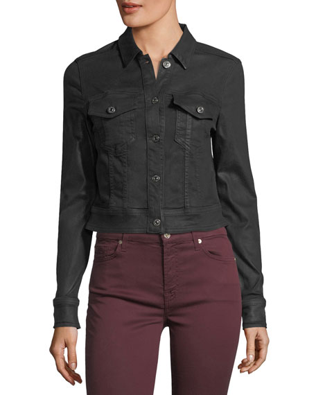 Coated Button-Front Cropped Jacket