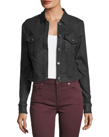 7 For All Mankind Coated Button-Front Cropped Jacket