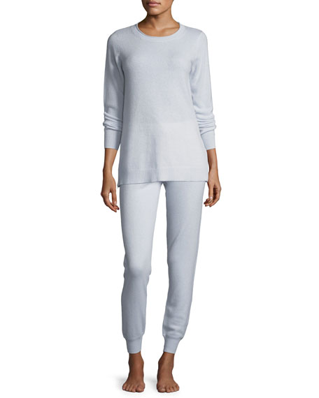 Neiman Marcus Cashmere Collection Side-Zip Cashmere Crewneck