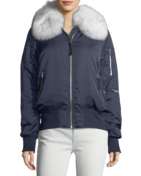 Derek Lam 10 Crosby Zip-Front Long-Sleeve Bomber Jacket