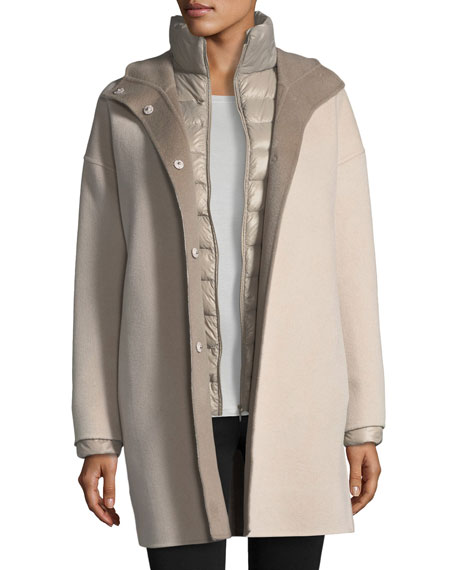 Fleurette Double-Face Hooded Wool Coat w/ Ultra Light