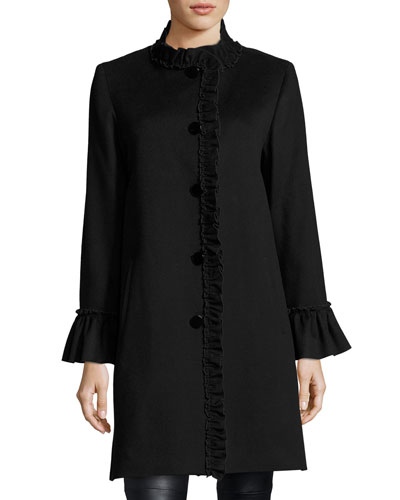 Button-Front Ruffled-Neck Wool Coat