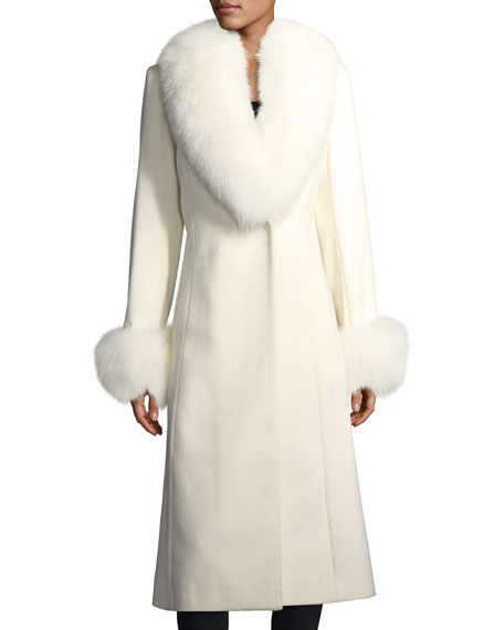 Sofia Cashmere Long-Sleeve Fur Collar & Cuffs Wool-Cashmere Coat