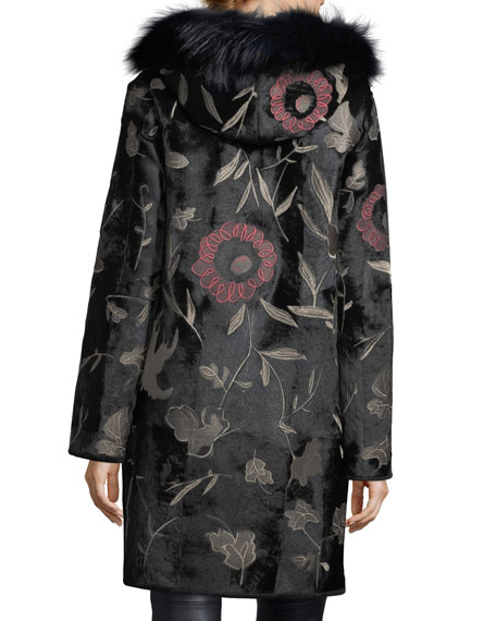 Floral-Embroidered Down Fur Coat with Fox-Fur Collar