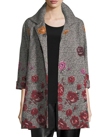 Caroline Rose Rose Plaid Jacquard Party Jacket