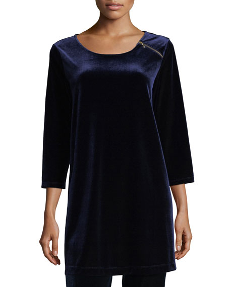 Joan Vass 3/4-Sleeve Velour Tunic W/ Zipper Detail
