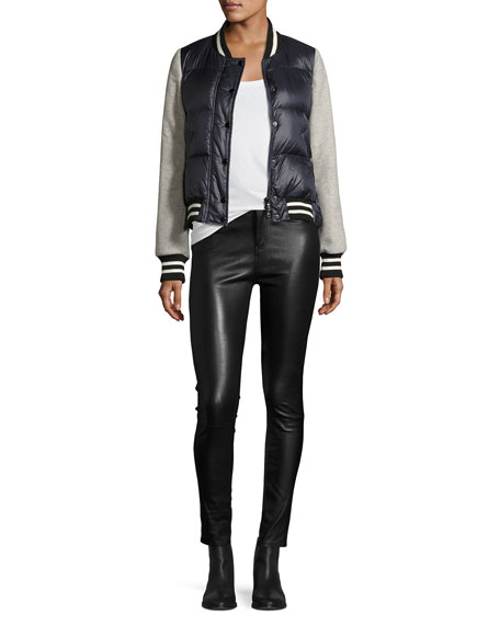 "Kate 10"" Mid-Rise Skinny Leather Pants"