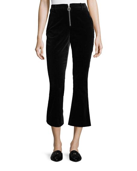 FRAME High-Waist Velvet O-Ring Zip Flare Pants