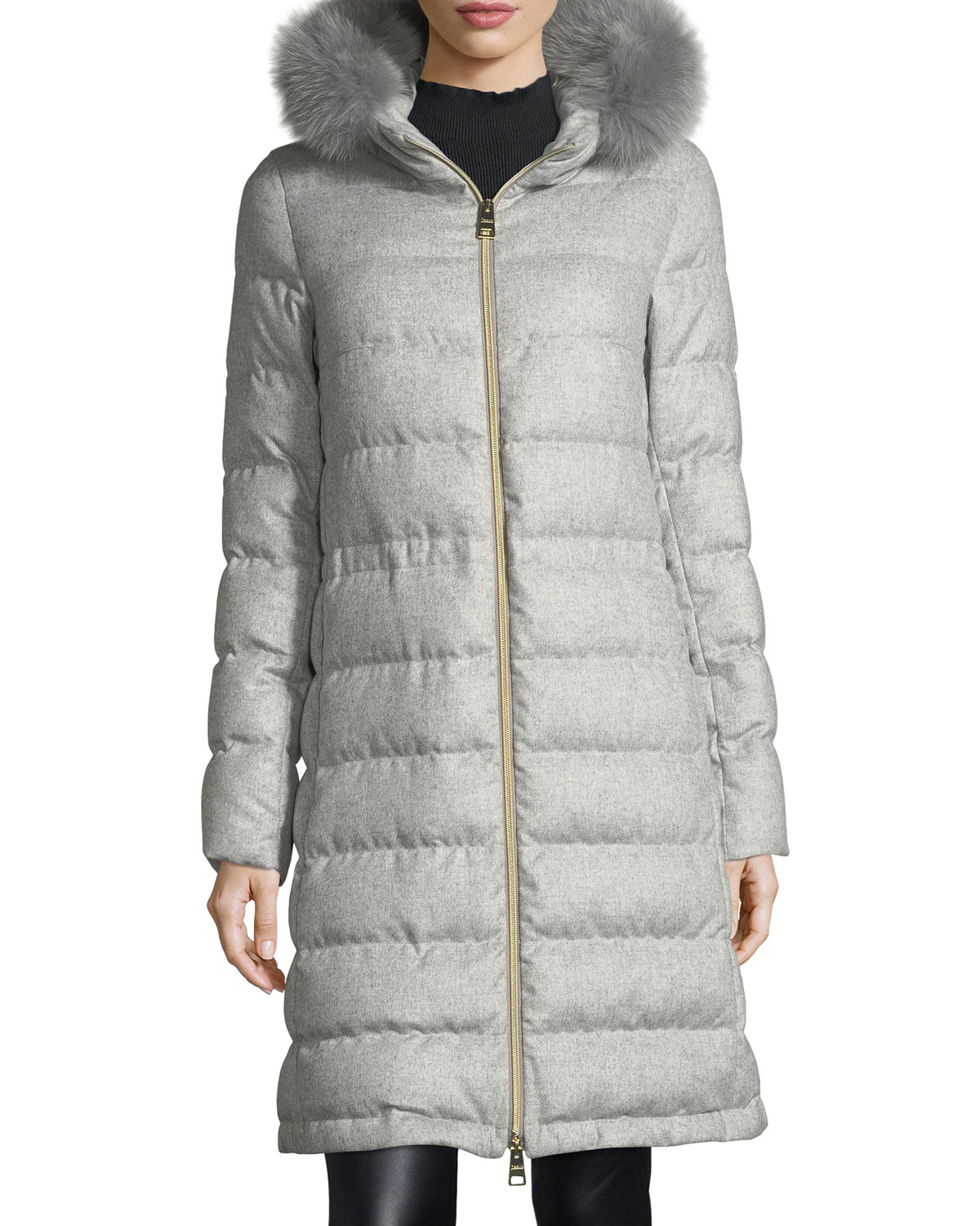 cd8031e12b38 Herno Long Hooded Quilted Puffer Coat w  Removable Fur Trim