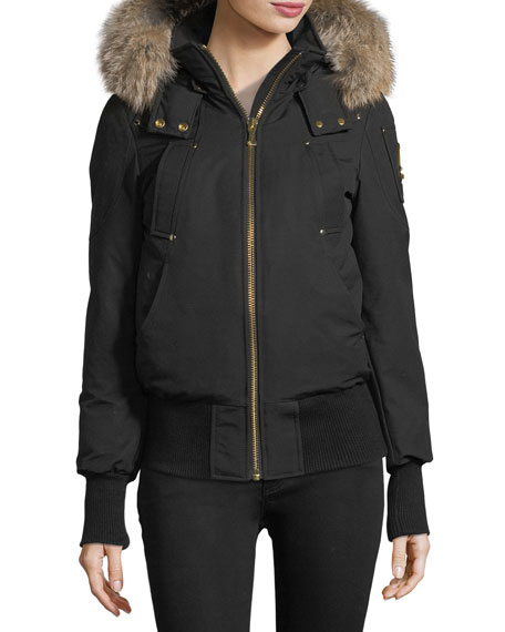 Moose Knuckles Gatineau Zip-Front Bomber Jacket w/ Fur