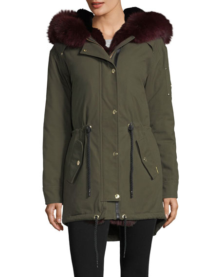Moose Knuckles Stellar Long-Sleeve Hooded Canvas Parka Jacket