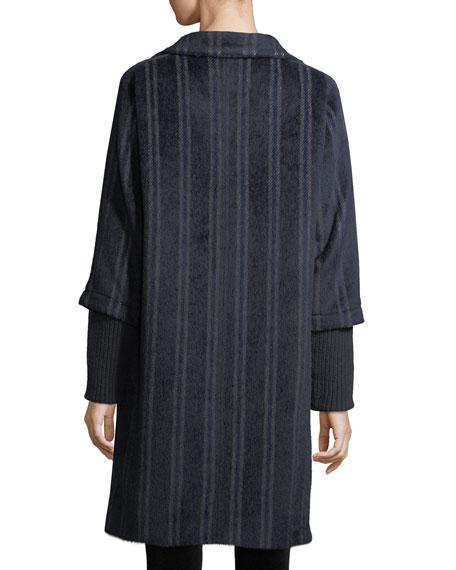 Wendy Mixed-Media Striped Hooded Alpaca-Blend Coat