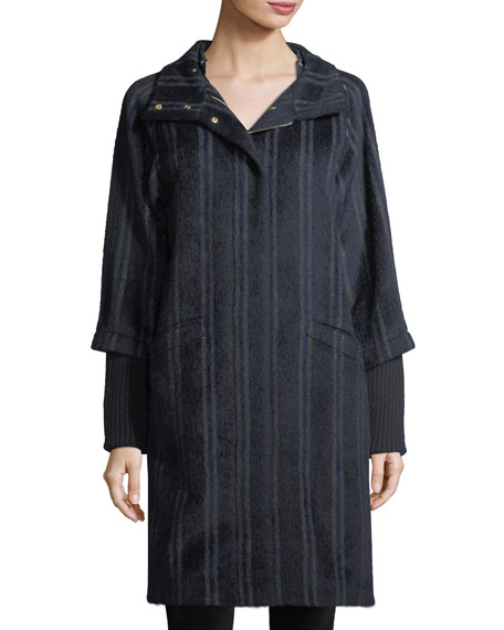 Bogner Woman Wendy Mixed-Media Striped Hooded Alpaca-Blend Coat