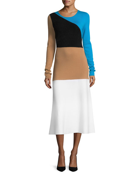 Diane von Furstenberg Crewneck Long-Sleeve Flare Knit Midi