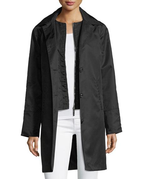 Button-Front Long-Sleeve Twill Midi Rain Coat W/ Bib, Black