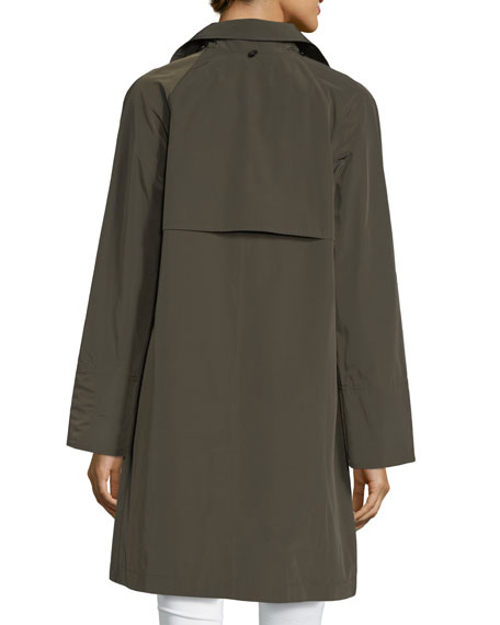 Button-Front Long-Sleeve Twill Midi Rain Coat w/ Bib