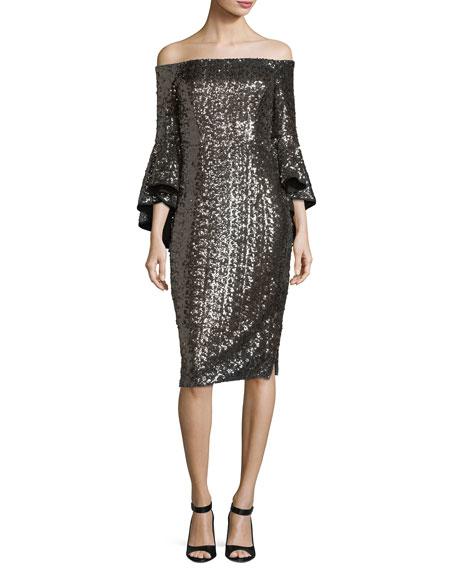 Selena Off-the-Shoulder Sequined Cocktail Dress