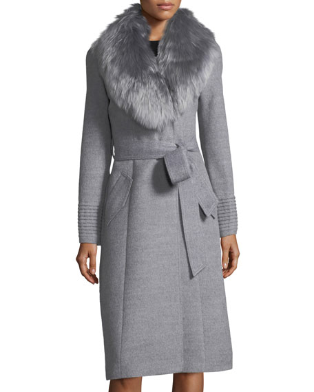 Sentaler Baby Alpaca Belted Long Coat w/ Fur Collar