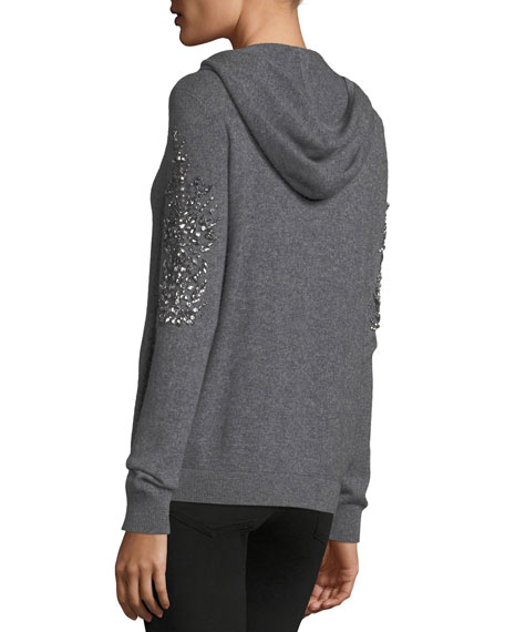 Neiman Marcus Cashmere Collection Embellished Zip-Front Cashmere