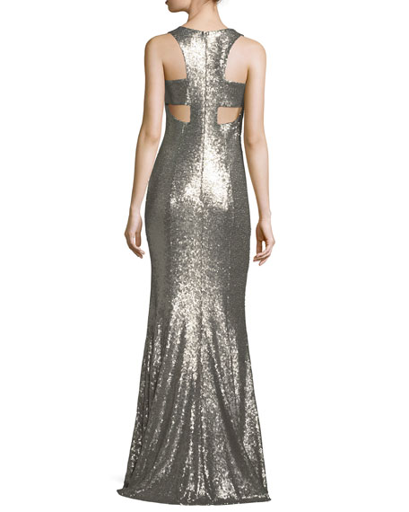 Jemma V-Neck Sleeveless Evening Gown