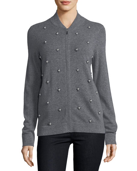 Neiman Marcus Cashmere Collection Cashmere Pearl-Embellished
