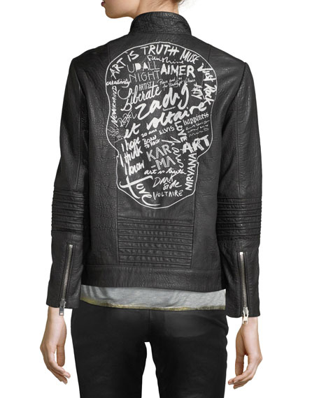 Zadig & Voltaire Loup Leather Motorcycle Jacket w/