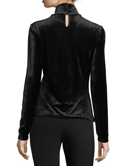 Long-Sleeve Velvet Turtleneck