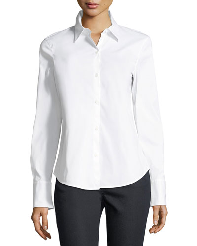 Linely Stretch-Cotton Button-Down Blouse