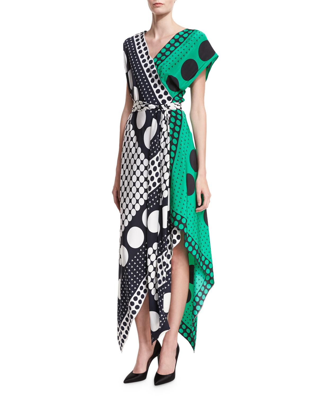 Diane Von Furstenberg Dot Print Asymmetric Cap Sleeve