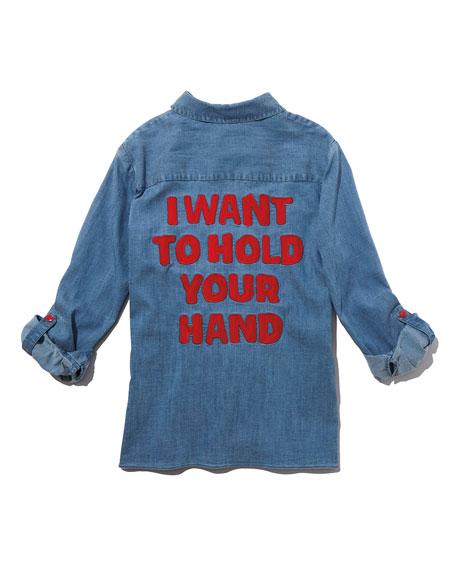 Elosie Button-Front Denim Shirt w/ Graphic Message