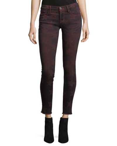 Roos Mid-Rise Skinny-Leg Star-Graphic Pants