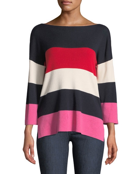 Neiman Marcus Cashmere Collection Cashmere-Blend Striped Boxy