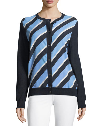 Cashmere Striped-Front Cardigan