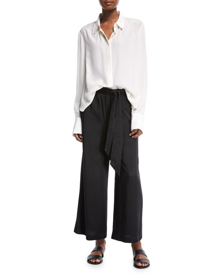 Wide-Leg Cropped Easy Silk Pants