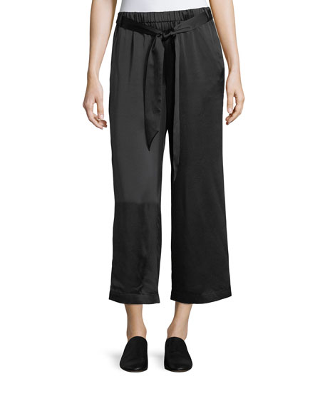 FRAME Wide-Leg Cropped Easy Silk Pants
