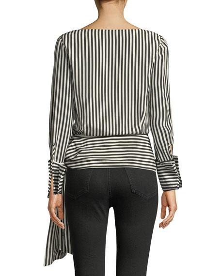 Alba Crossover Striped Tie-Waist Silk Blouse