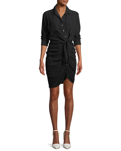 Sierra Long-Sleeve Ruched Tie-Front Dress